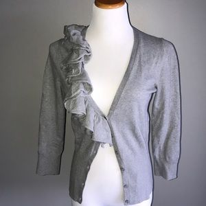 The Limited Grey Ruffle M 3/4 Sleeve Sweater
